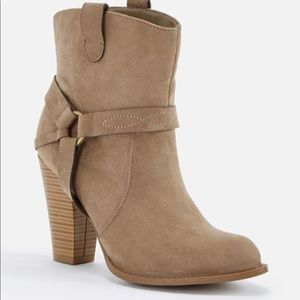 Faux Suede Booties (Taupe) (New)